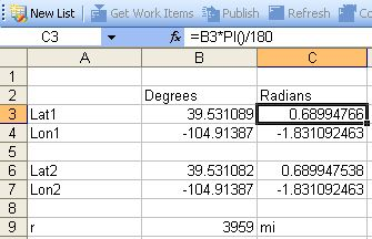 How to Calculate Distance and Bearing to a Latitude