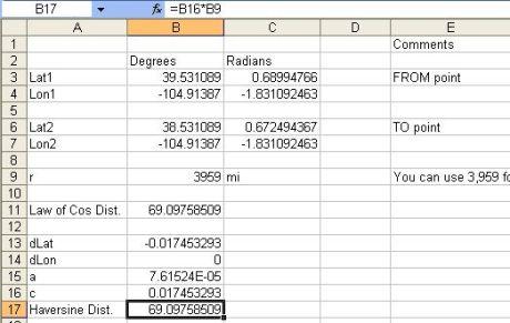 Excel Haversine Formula Distance